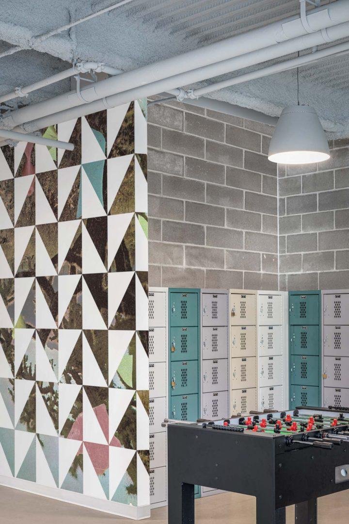 Corporate Interior Design Accent Dividing Wall Geometric Graphics Locker Storage Cognizant Denver