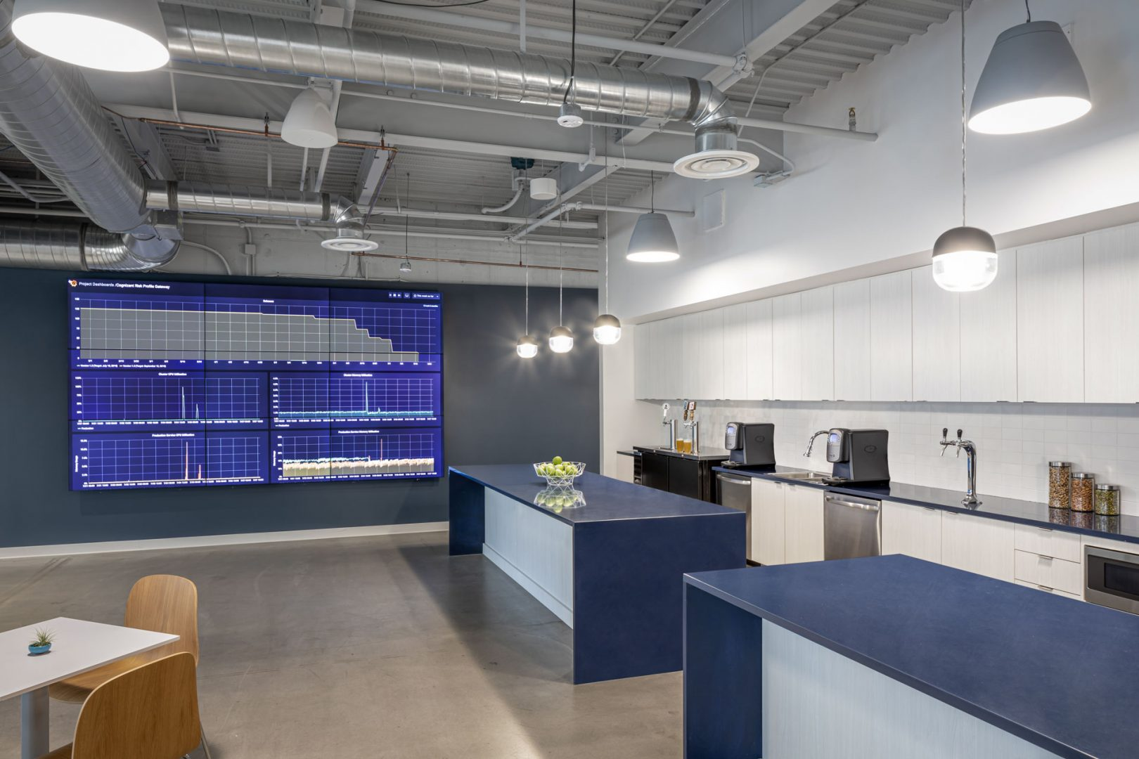Corporate Interior Design Breakroom Islands Multipanel Screen Cognizant Denver