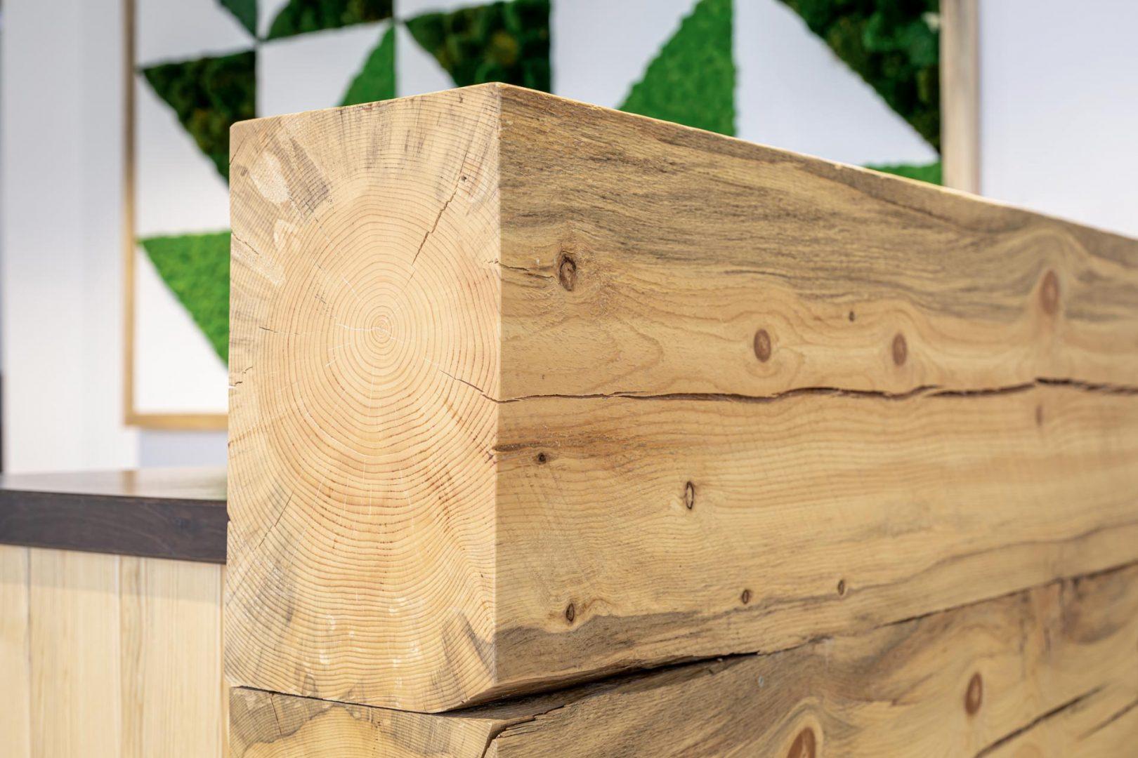 Corporate Interior Lobby Design Custom Reception Desk Locally Sourced Wood Denver