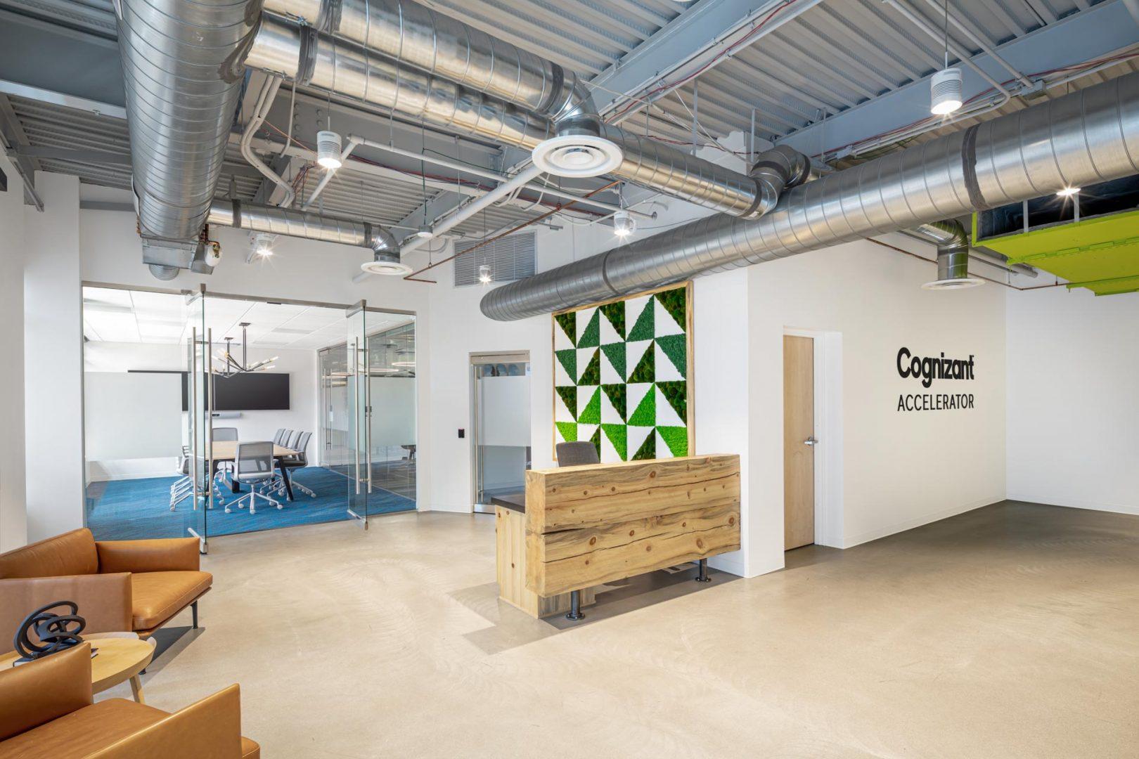 Corporate Interior Lobby Design Custom Reception Desk Denver