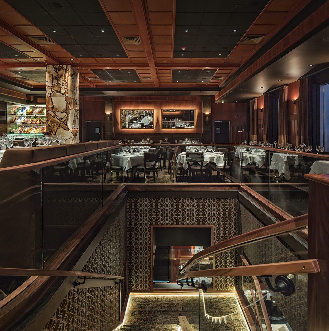 Mastro's Manhatten restaurant interior design stairs