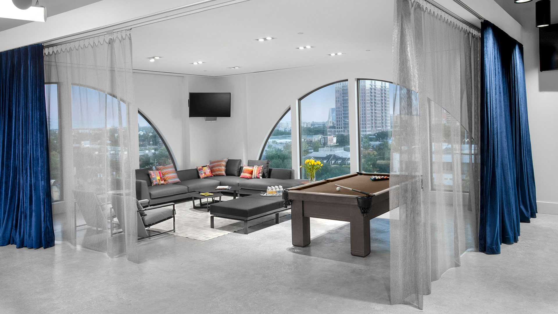 Privacy Curtain Breakout Space Penthouse Downtown Views Corporate Interior Design Vista Energy