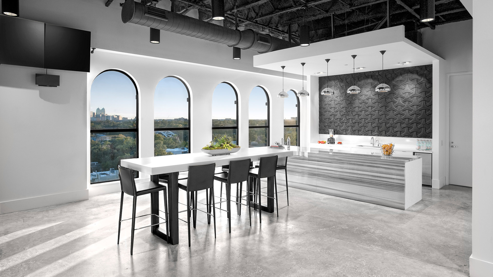 Corporate Interior Design Penthouse Breakroom with Views Gray and White
