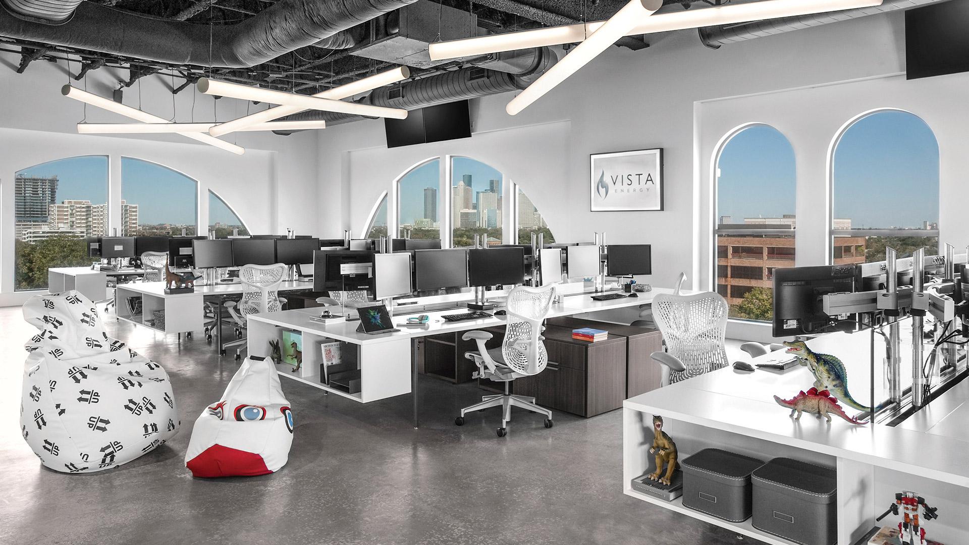 Corporate Interior Design Open Workstations Penthouse View Beanbags Vista Energy