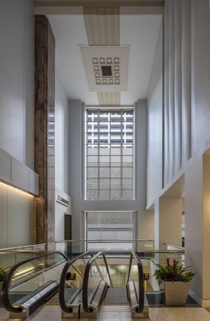 Architecture Building Repositioning Corporate Interior Design 1001 McKinney Houston Escalators Historic Building