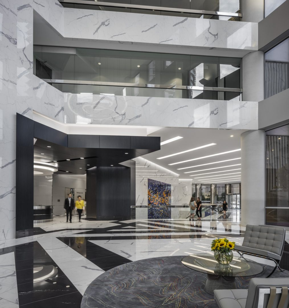 Architecture Building Repositioning Corporate Interior Design 1415 Louisiana Houston Entrance Lobby Black and White