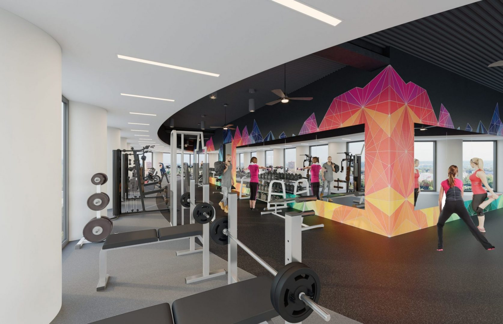 Houston Architecture Building Repositioning 1415 LOUISIANA FITNESS CENTER Houston Corporate Interior Design Fitness Floor Weights