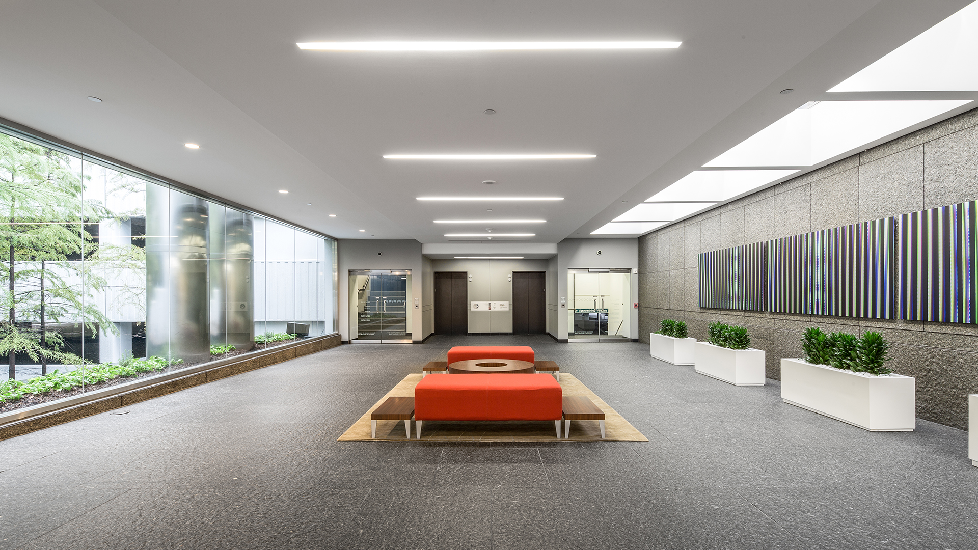 Architecture Building Repositioning Corporate Interior Design 1900 West Loop South Houston Natural Light Seating Area