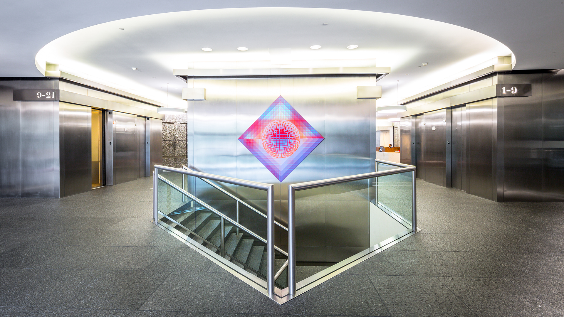 Architecture Building Repositioning Corporate Interior Design 1900 West Loop South Houston Bright Elevator Lobby