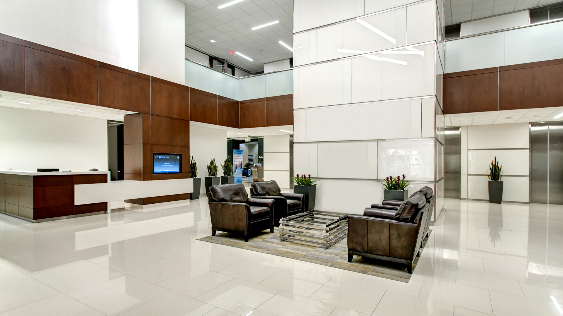 Building Repositioning Refurbishment 5177 Richmond Ave Houston Concierge Seating Area Lobby