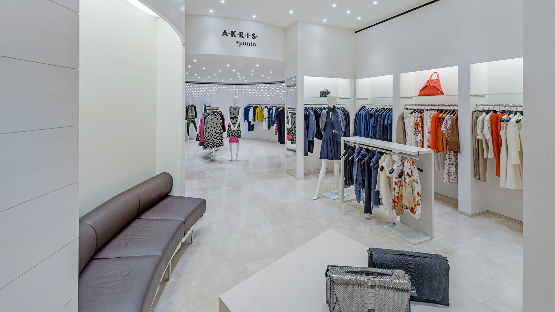 Commercial Retail Interior Design Houston Floor Display Showroom curved bench