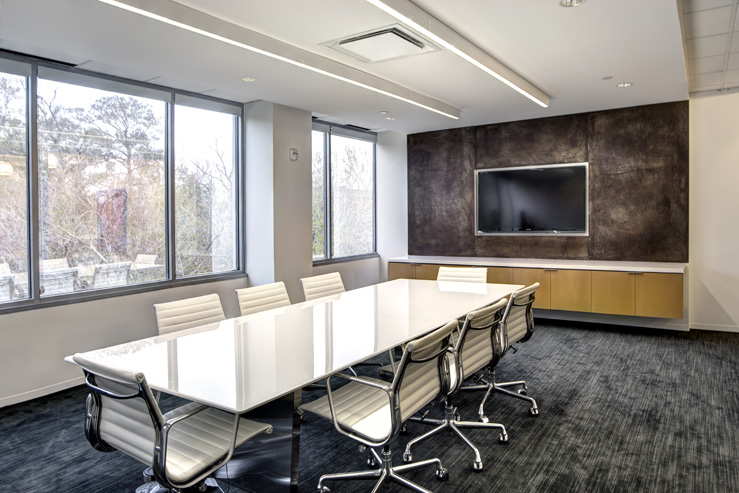 Corporate Interior Design Modern Office Avera Companies Investment Firm Corten Steel Panel Conference Room