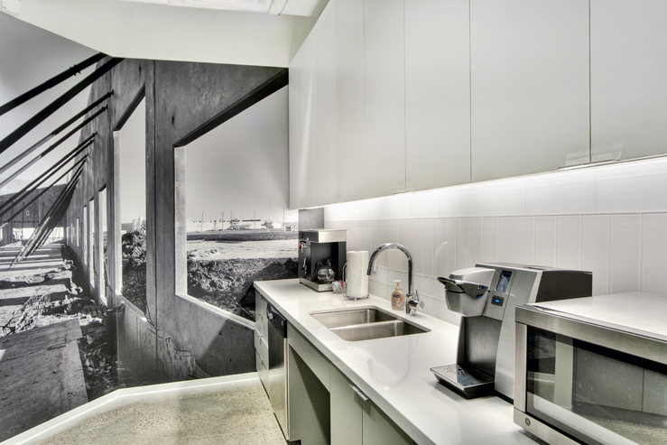 Corporate Interior Design Modern Office Avera Companies Investment Firm Breakroom Kitchen