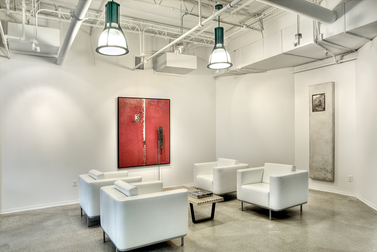 Corporate Interior Design Modern Office Avera Companies Investment Firm Honed Concrete Floor Seating Lobby