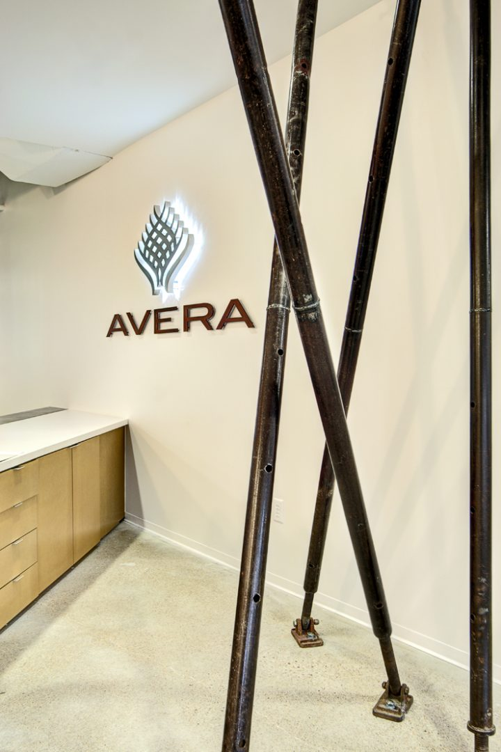 Corporate Interior Design Modern Office Avera Companies Investment Firm Reception Corten Steel Strut Supports