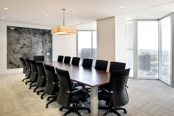 Corporate Interior Design Houston Avison Young Boardroom conference Downtown view