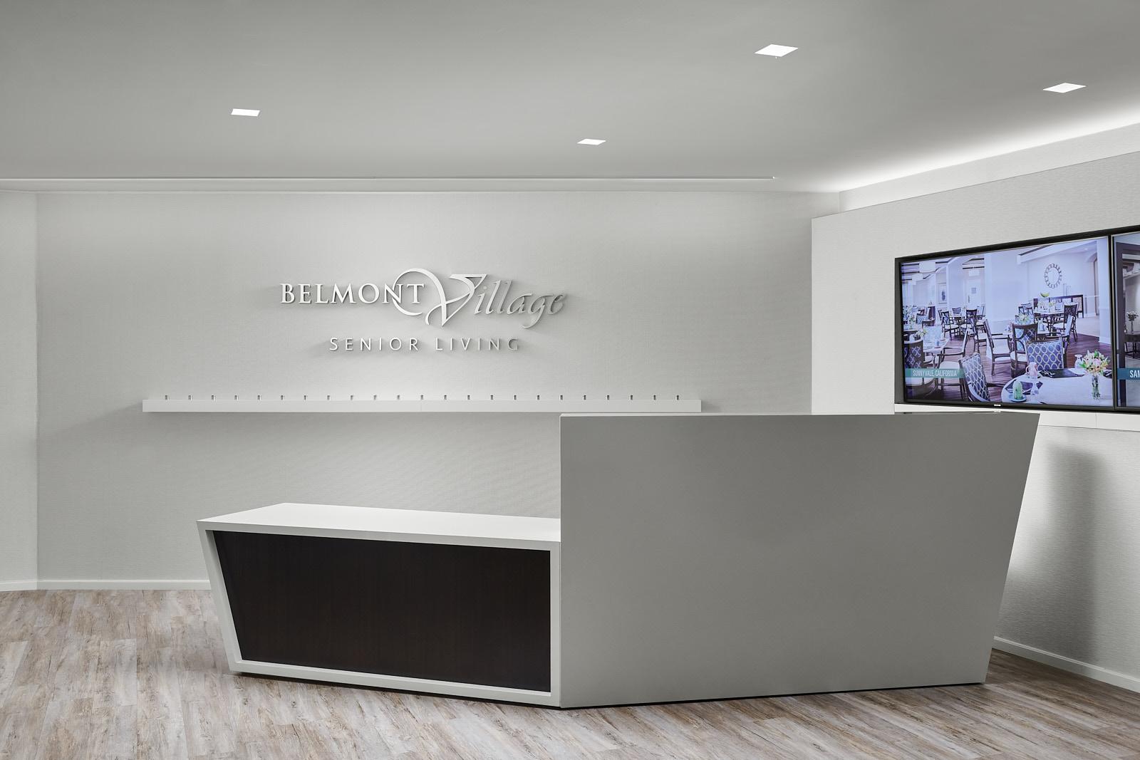 Institutional Corporate Office Interior Design Belmont Village Reception Desk