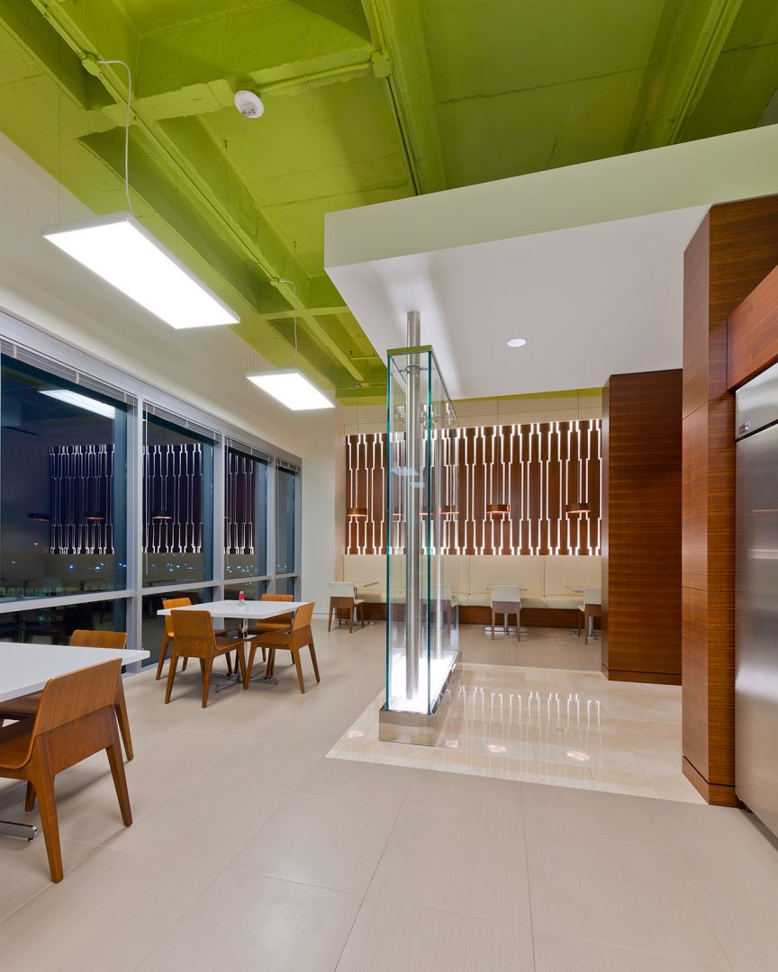 Workplace Office Interior Design BEUSA Energy The Woodlands Glass Dividing Wall Colorful Ceiling Breakroom
