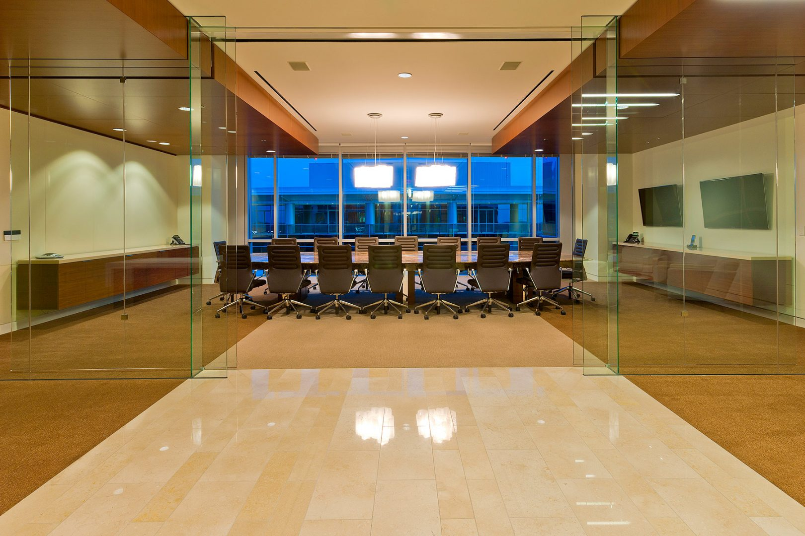 Workplace Office Interior Design BEUSA Energy The Woodlands Conference Meeting Glass Walls