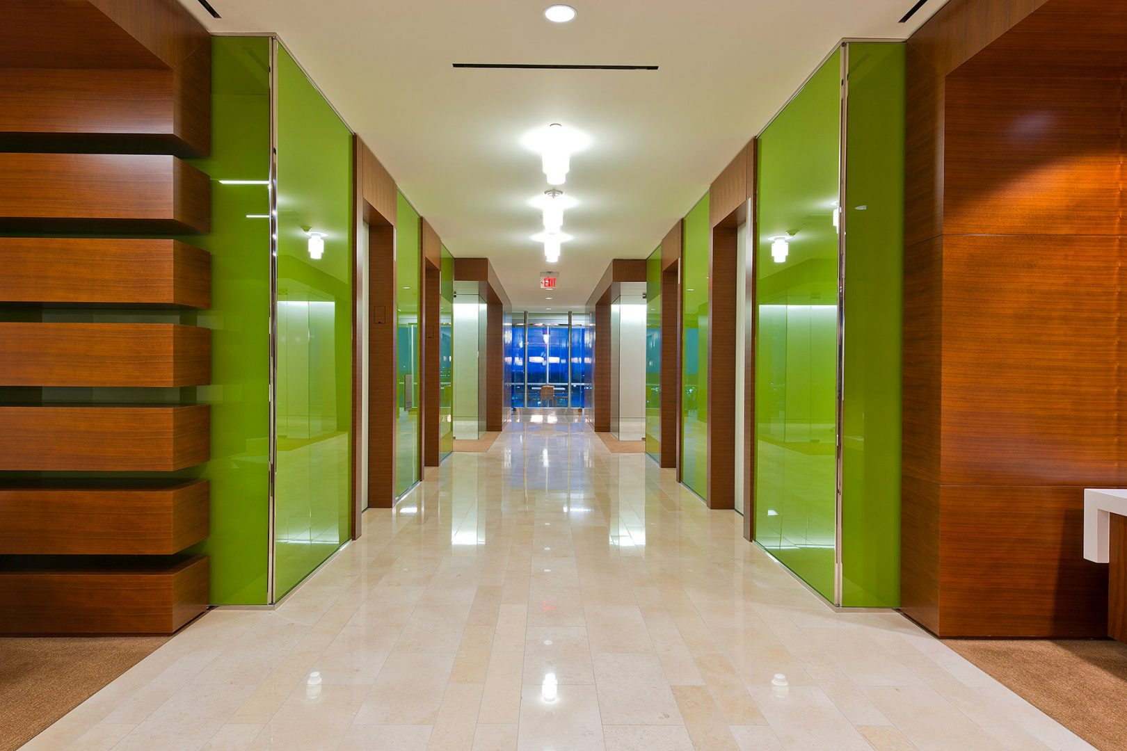 Workplace Office Interior Design BEUSA Energy The Woodlands Green Glass Elevator Lobby Entrance