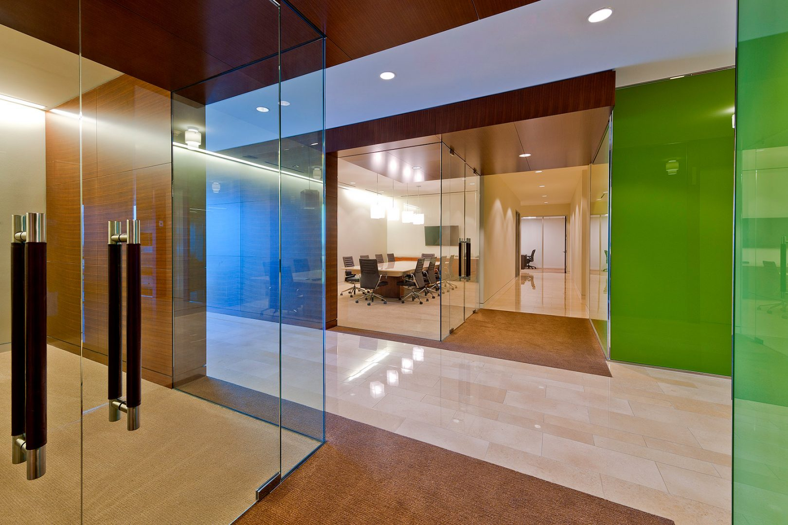 Workplace Office Interior Design BEUSA Energy The Woodlands Green Glass Walls