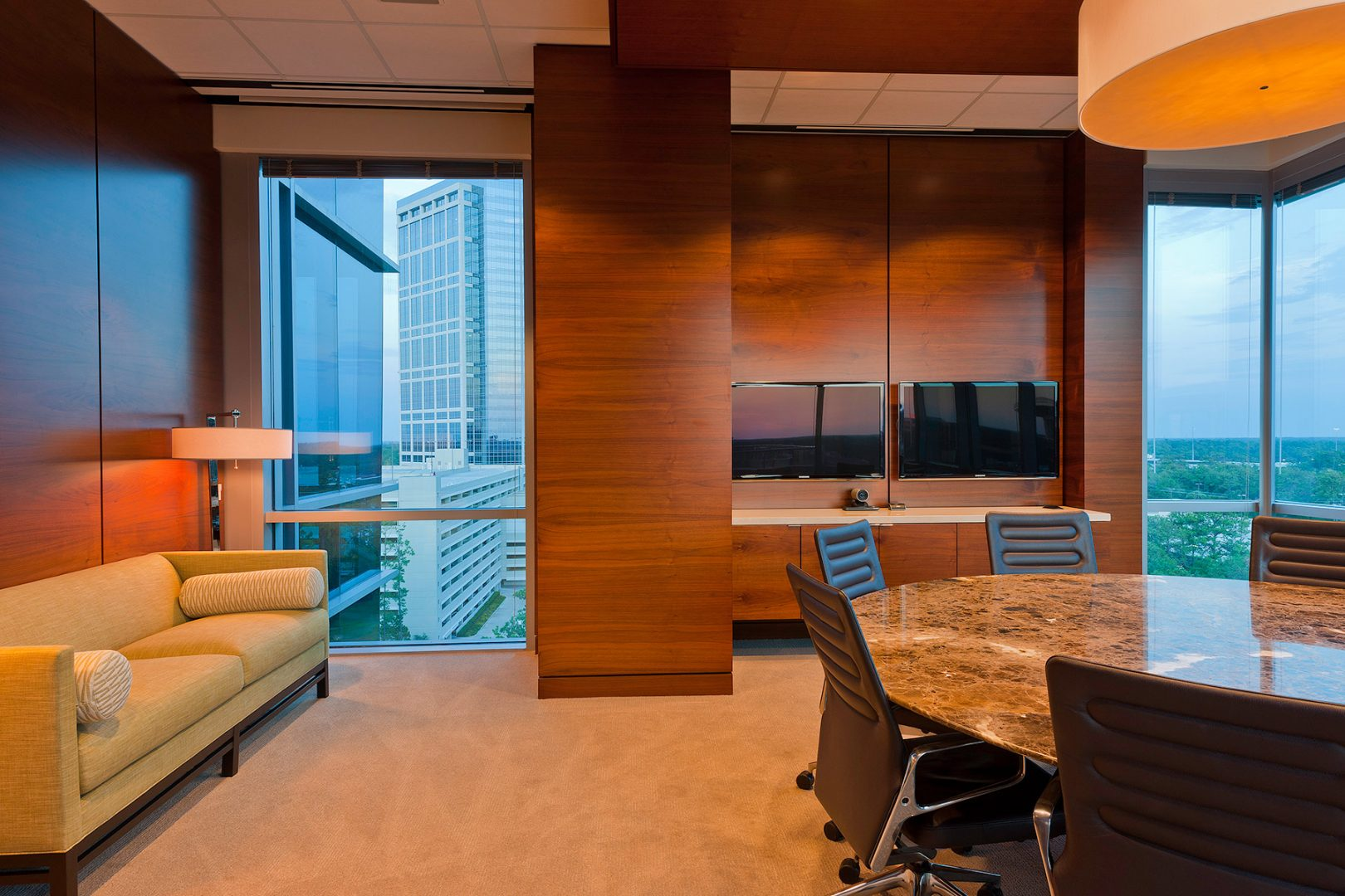 Workplace Office Interior Design BEUSA Energy The Woodlands Meeting Room Custom Millwork Marble Table