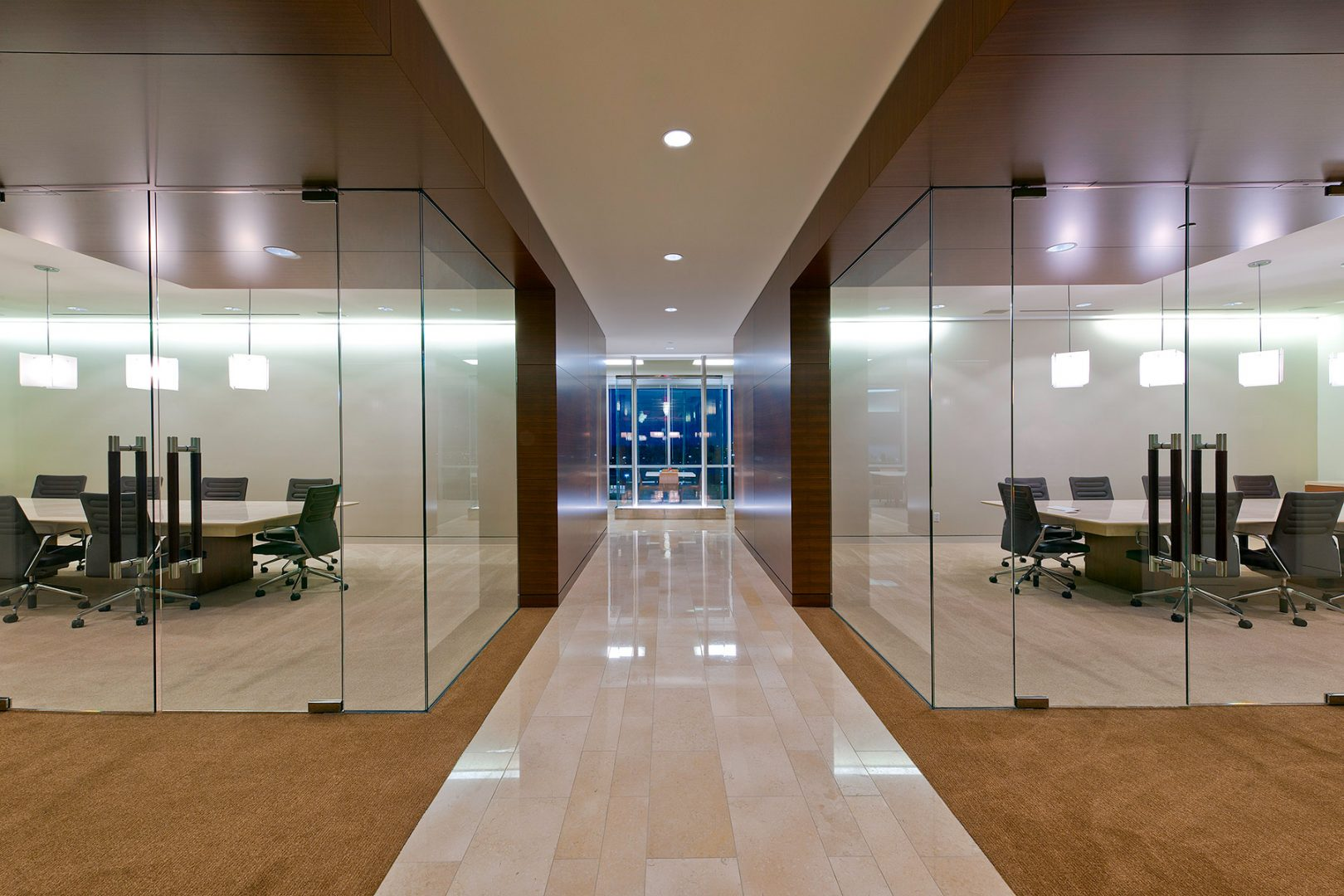 Workplace Office Interior Design BEUSA Energy The Woodlands Meeting Rooms Glass Walls Natural Light filtration