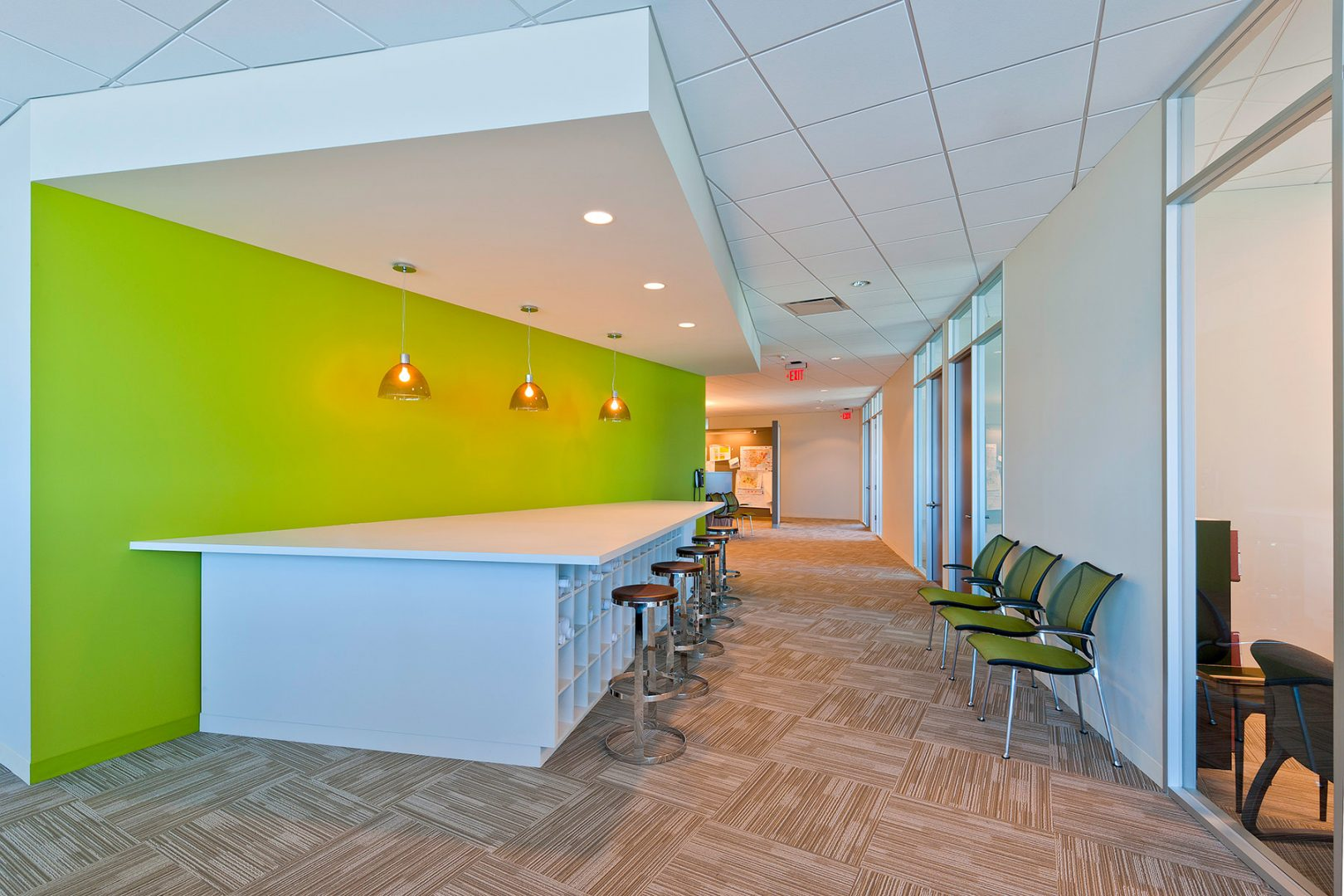 Workplace Office Interior Design BEUSA Energy The Woodlands Colorful Wall Workroom