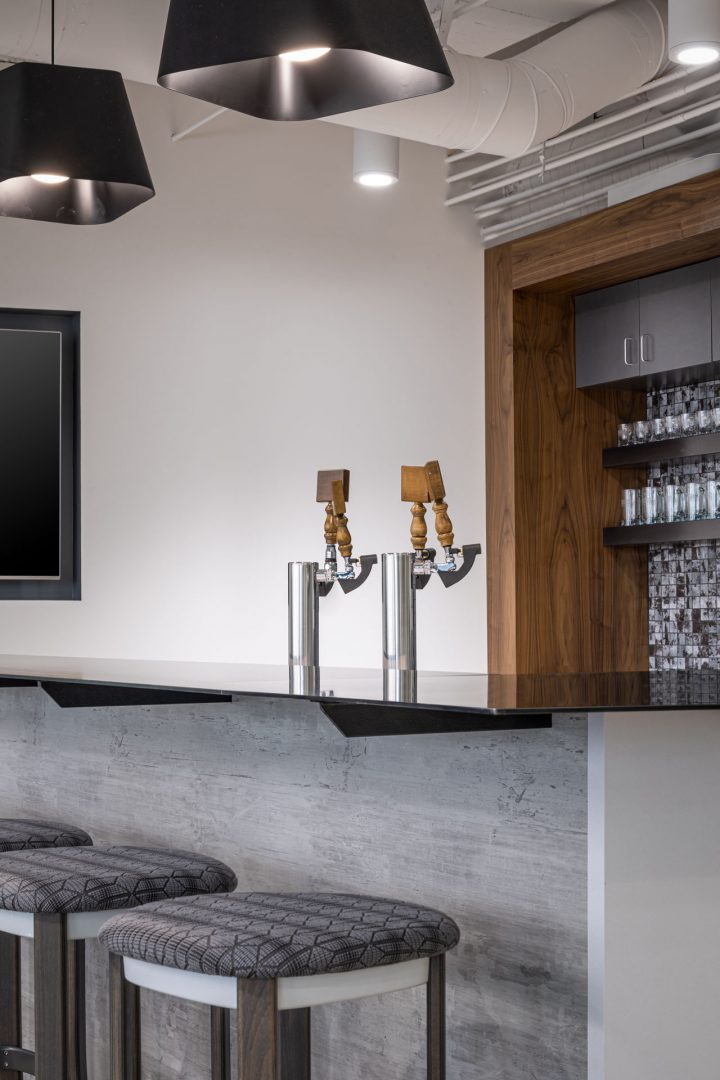 Corporate Interior Design Boots Construction Denver Bar Counter Stools and Kegerator Taps