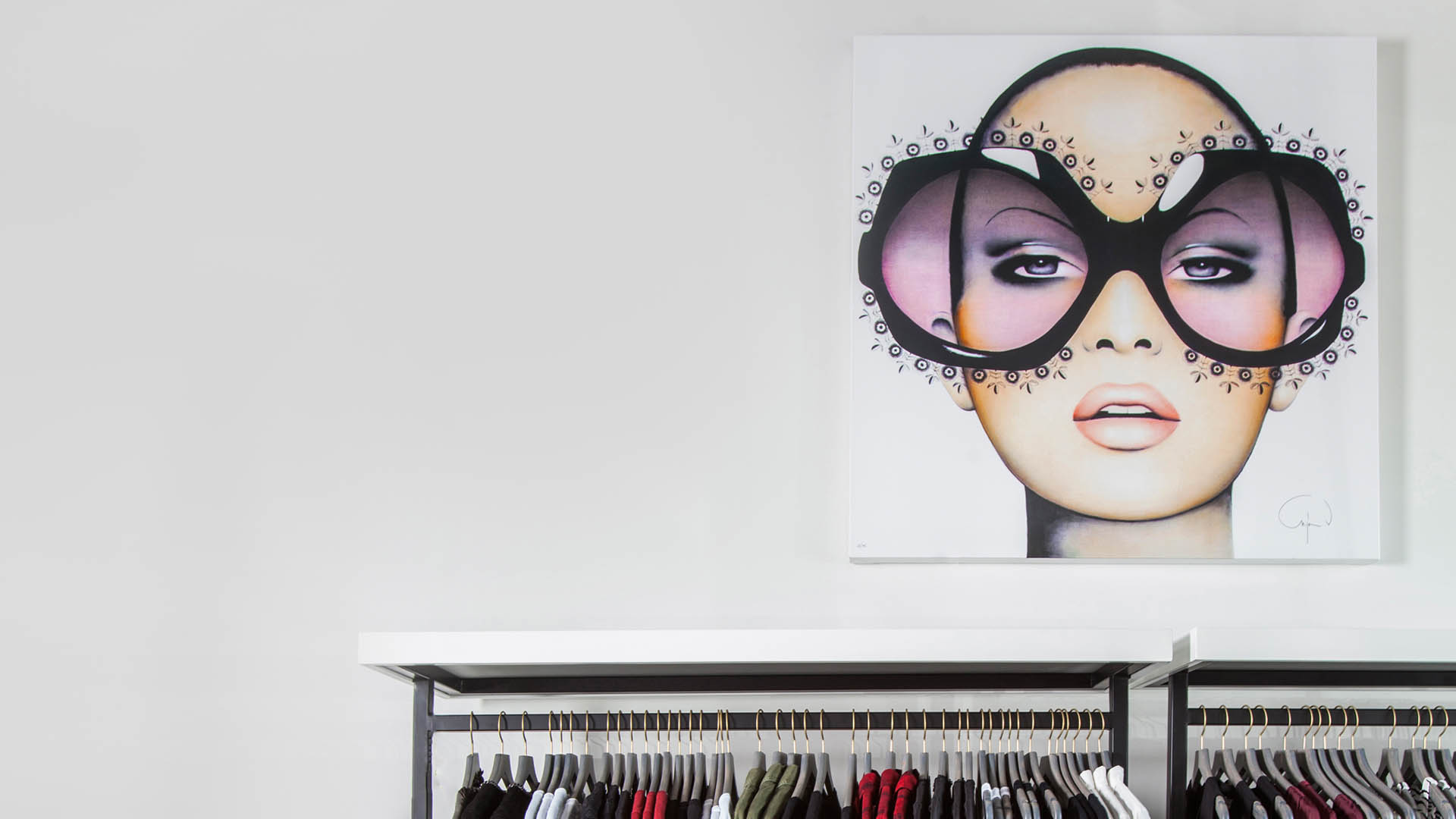 Commercial Retail Interior Design High End Women's Apparel Brooke Feather Houston Wall Art