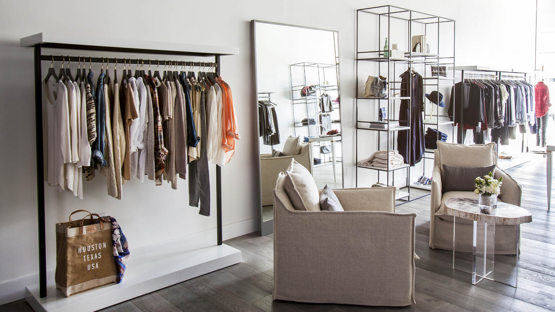 Commercial Retail Interior Design High End Women's Apparel Brooke Feather Houston Hanging Racks