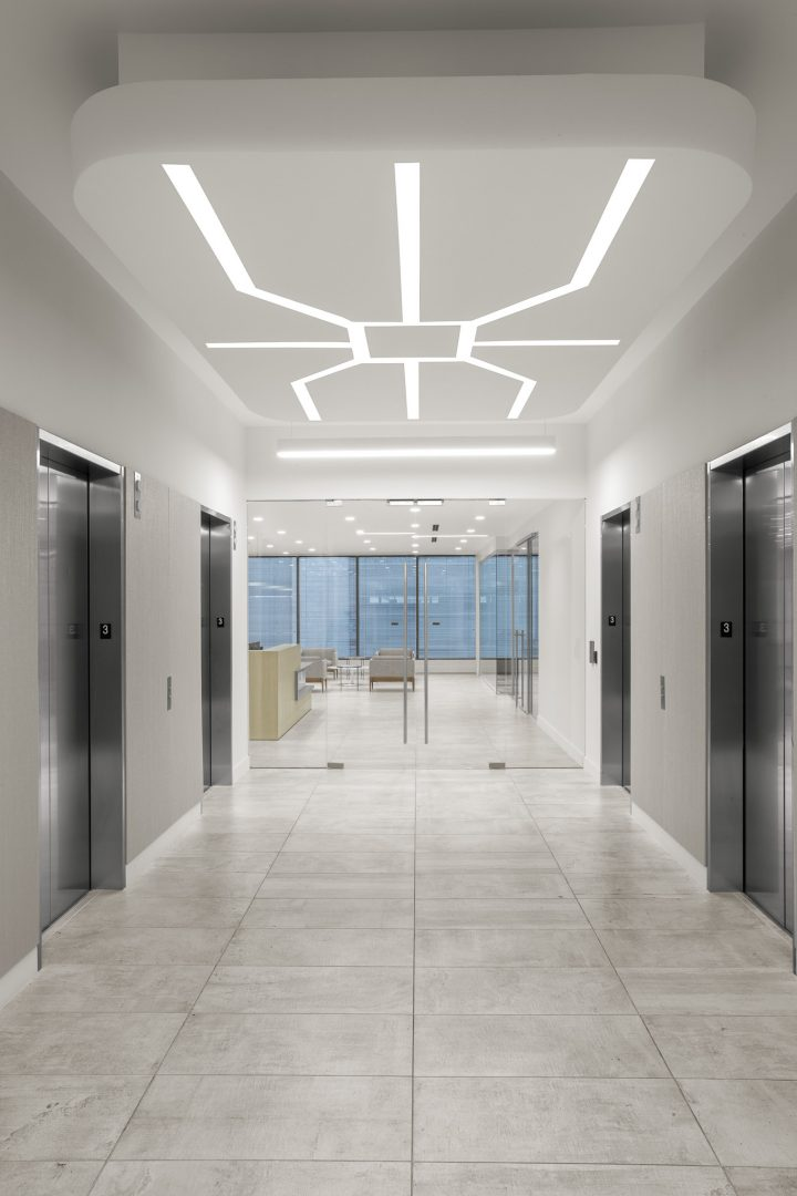 Corporate Financial Interior Design Cardtronics Elevatory Lobby Graphic Recessed Lighting