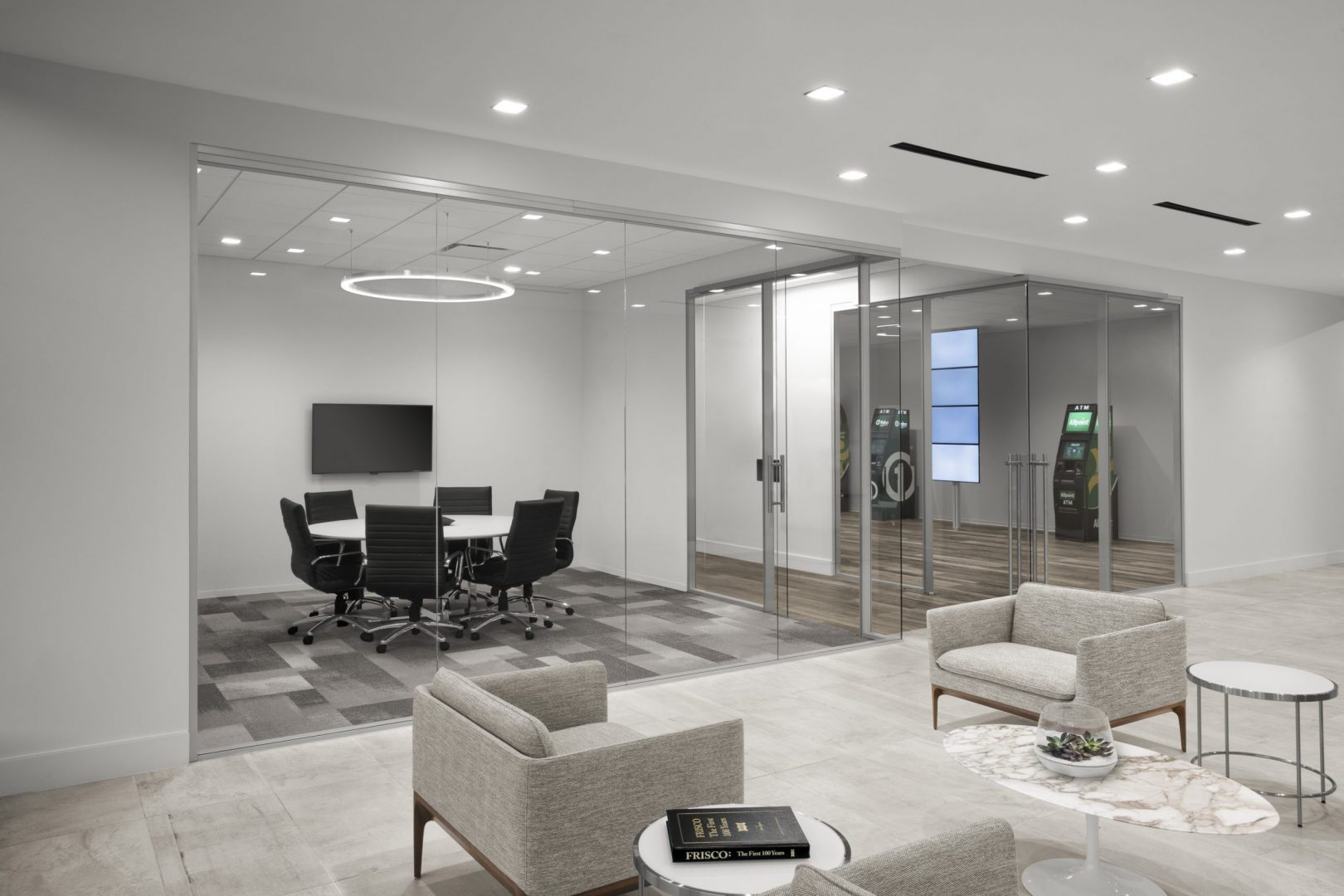 Corporate Financial Interior Design Cardtronics Lobby and Small Meeting Room