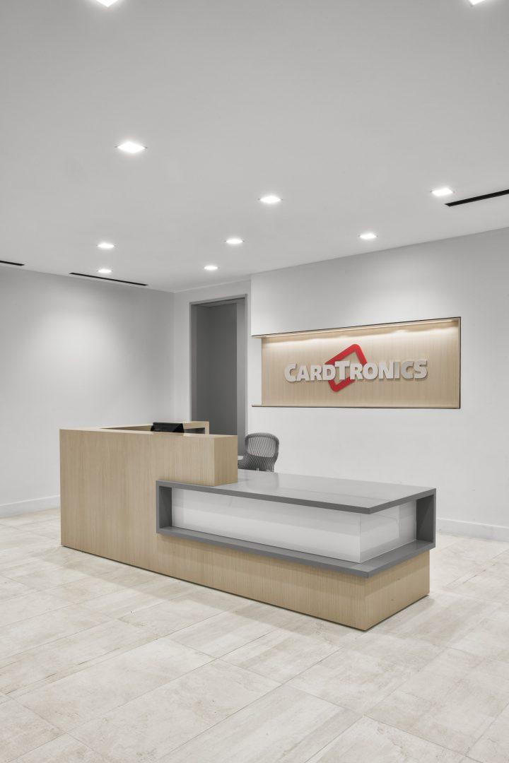 Corporate Financial Interior Design Cardtronics Reception Desk
