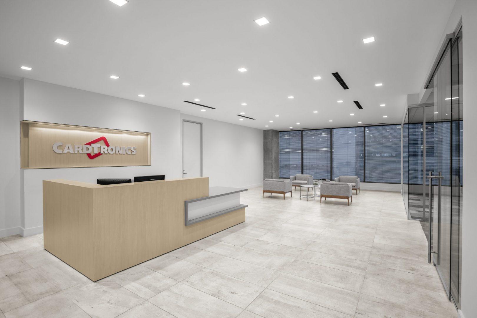Corporate Financial Interior Design Cardtronics Reception Entrance Lobby