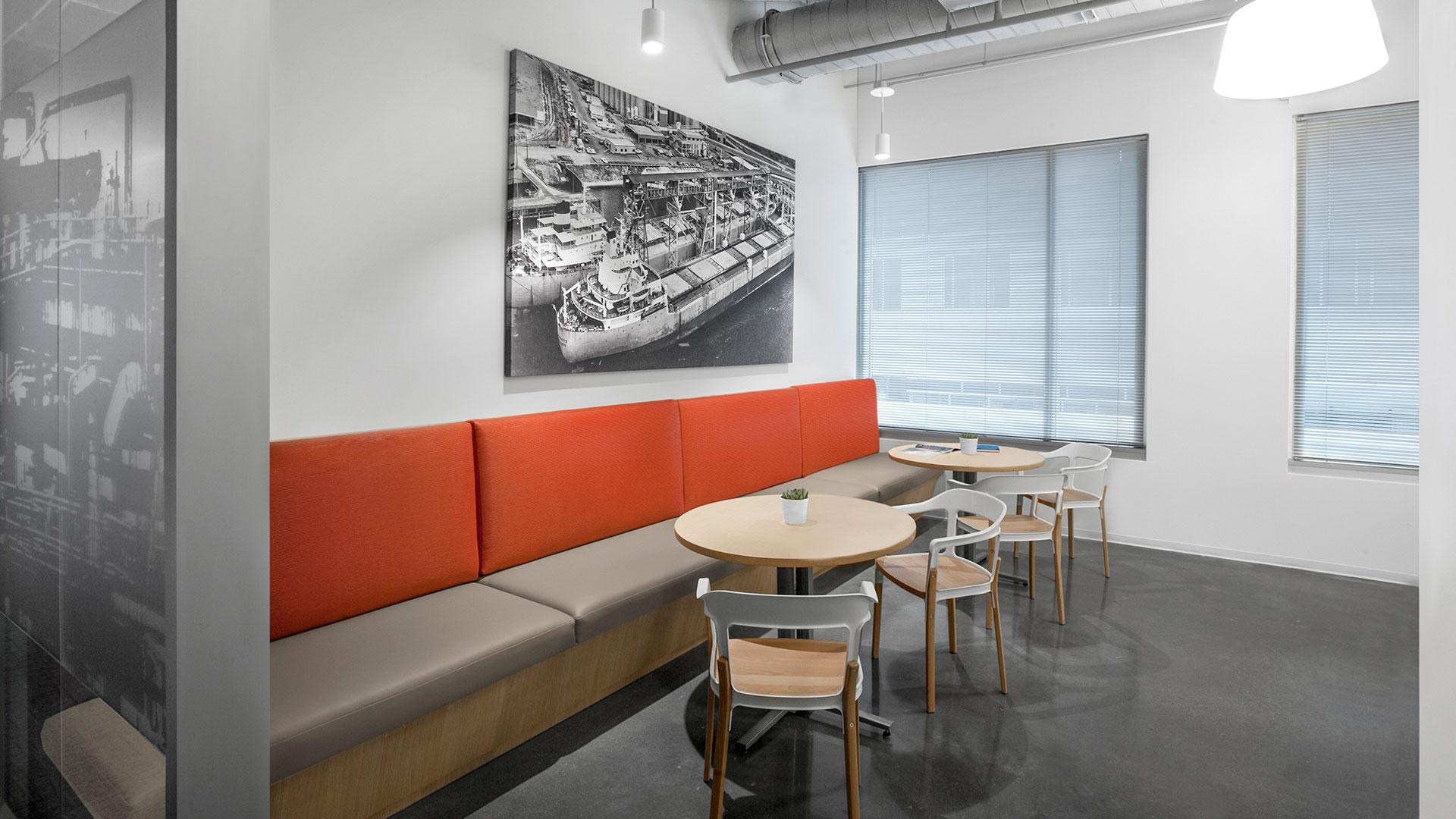 Corporate Interior Design City Center Houston Breakroom Banquette Seating Dining