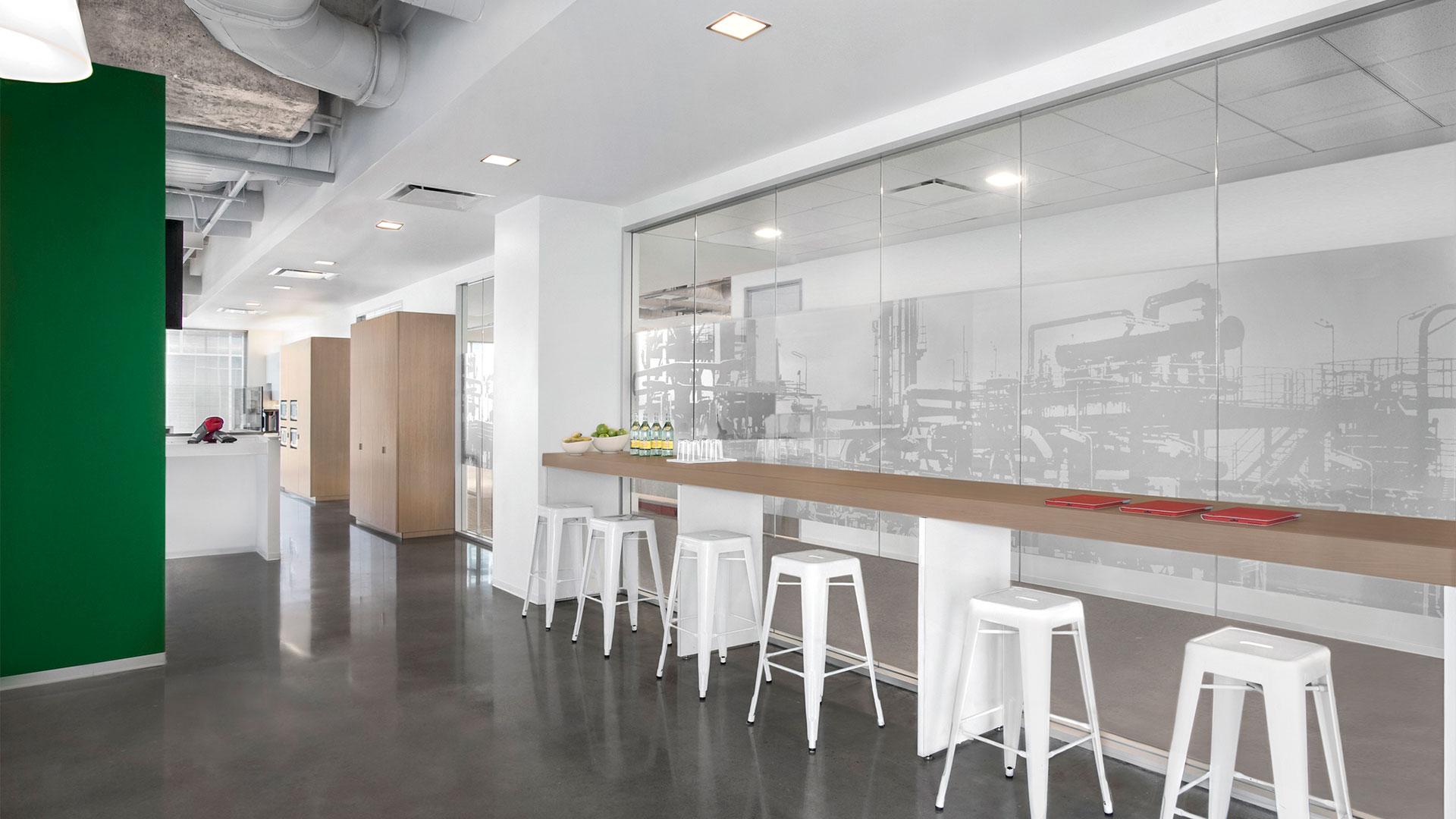 Corporate Interior Design City Center Houston Bar Stools Natural Light