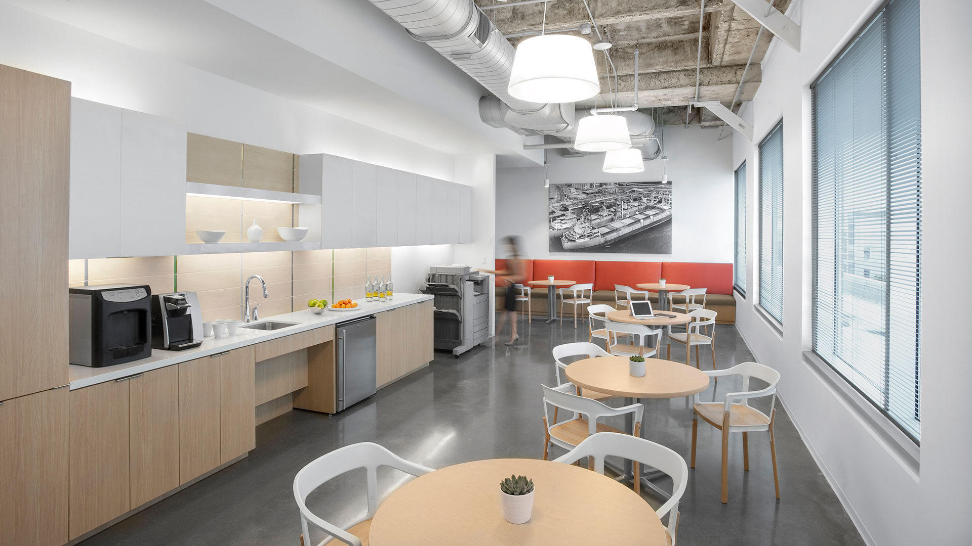 Corporate Interior Design City Center Houston Copy Room Coffee Bar Seating