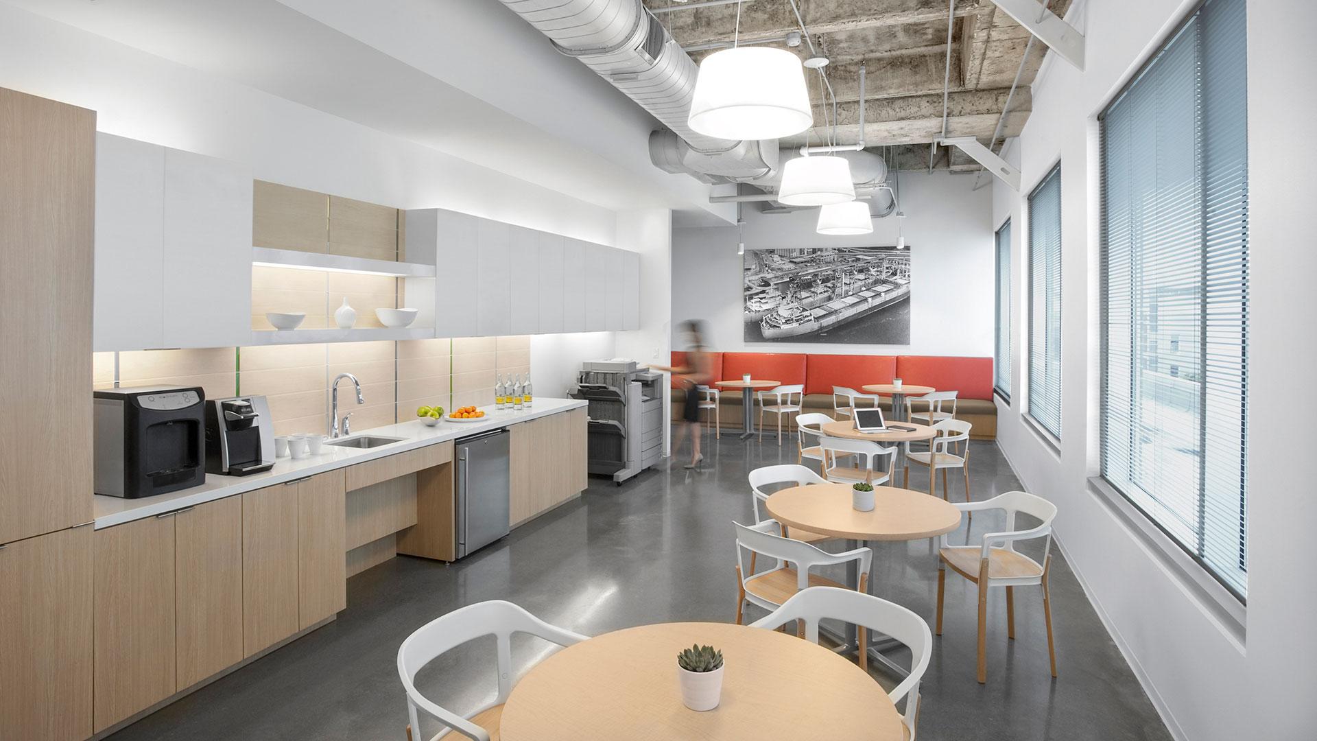 Corporate Interior Design City Center Houston Copy Room Coffee Bar Seating