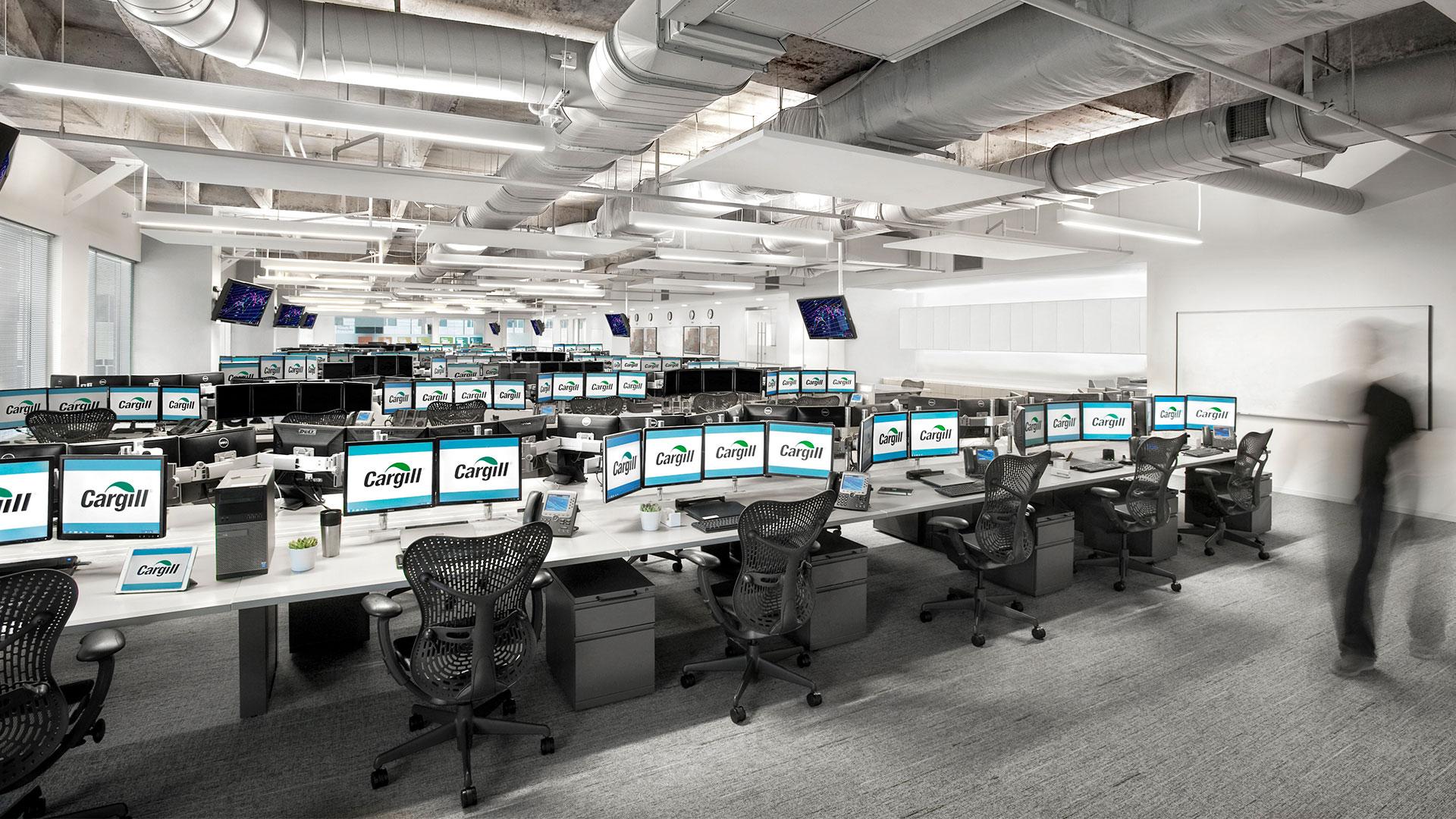 Corporate Interior Design City Center Houston Cargill Trading Floor Acoustic Ceiling Panels