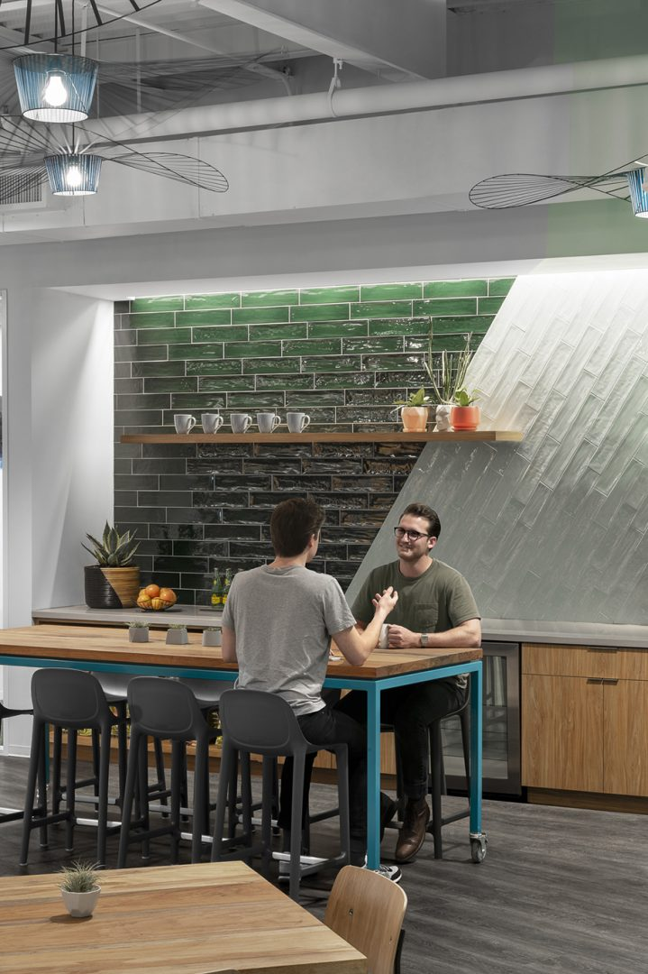 Workplace Interior Design Technology Client Austin Breakroom Seating Subway Tile Backsplash