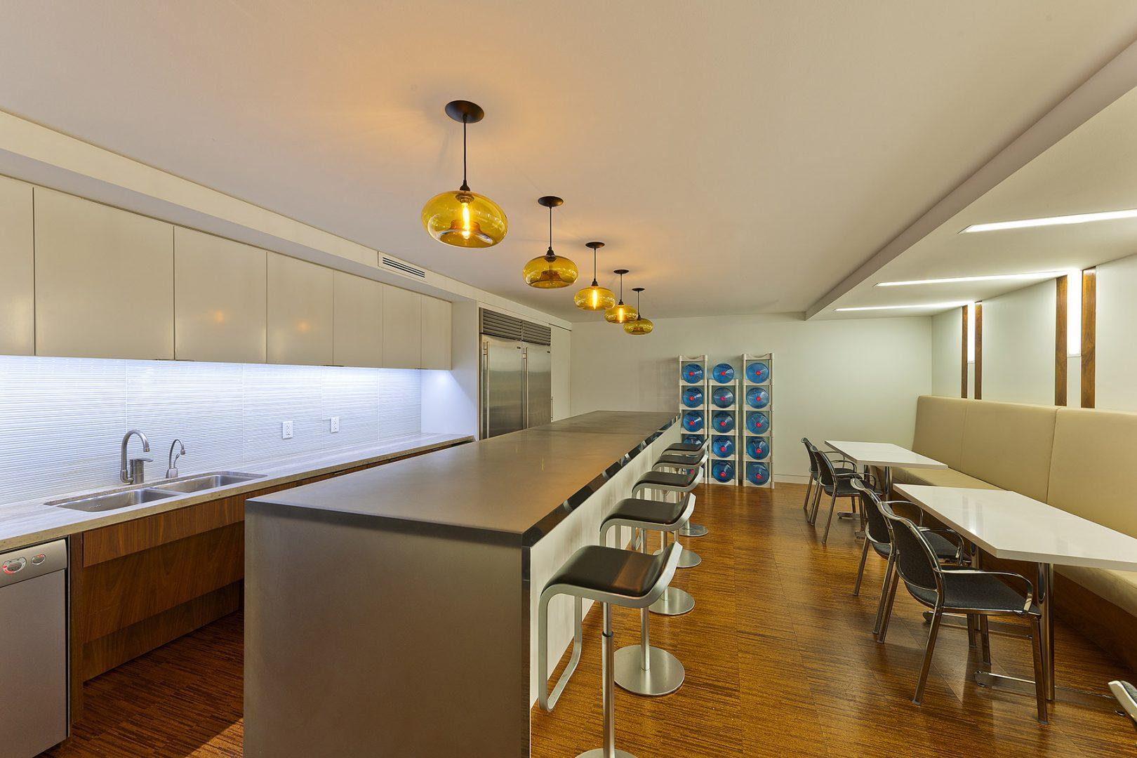 Corporate Hedge Fund Houston Interior Design Breakroom Seating