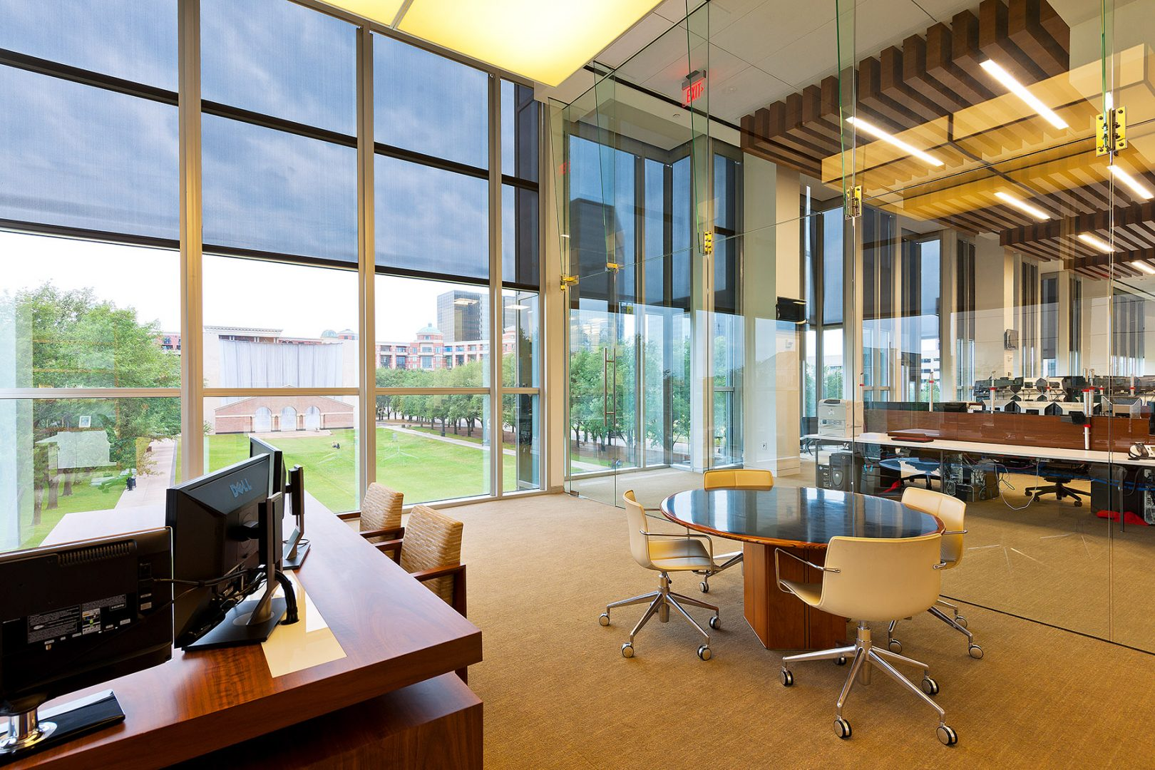 Corporate Hedge Fund Houston Interior Design Double Height Glass Natural Light Private Office