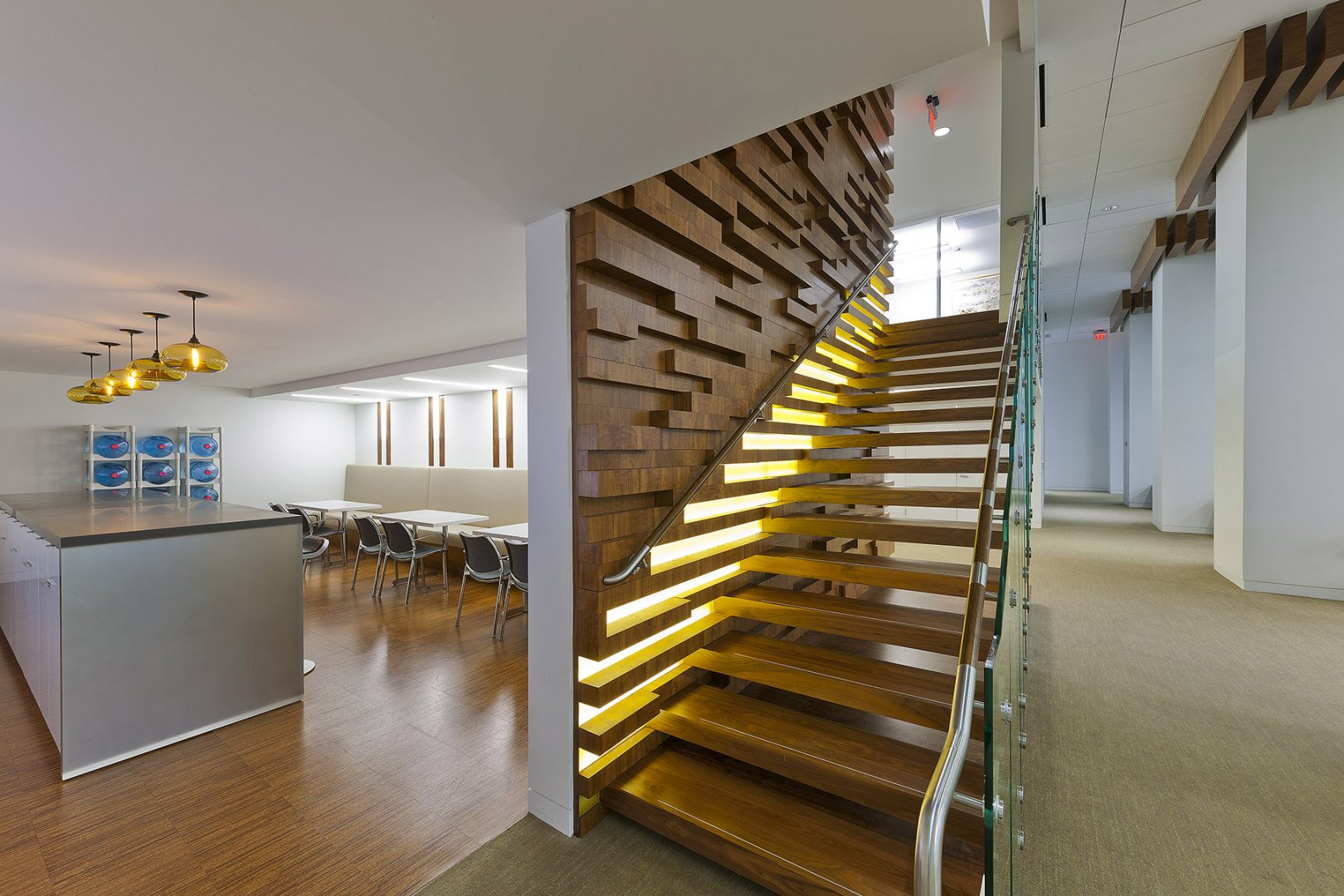 Corporate Hedge Fund Houston Interior Design Central Staircase Wood Wall