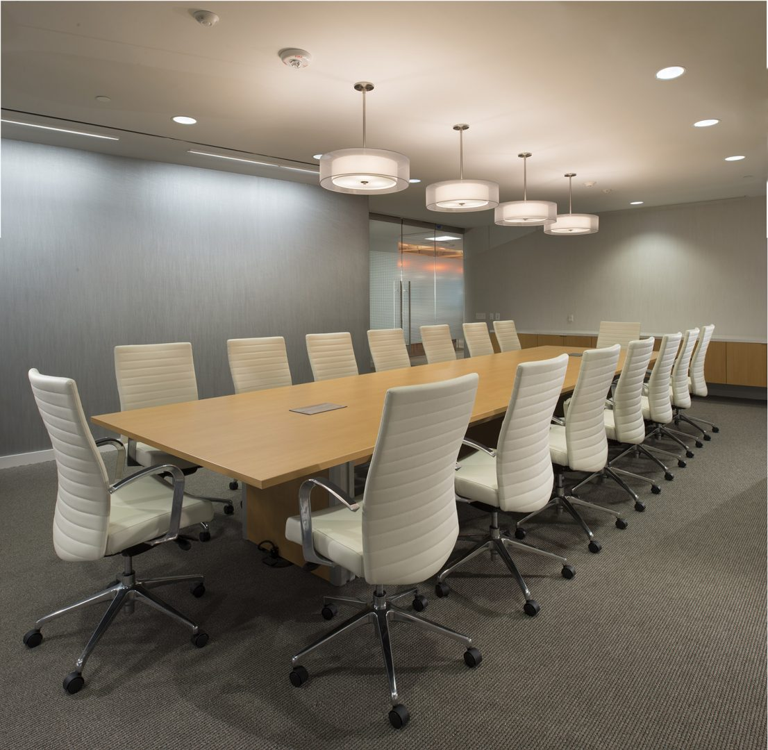 Corporate Interior Design Houston Energy Alloys Conference Room White and Gray