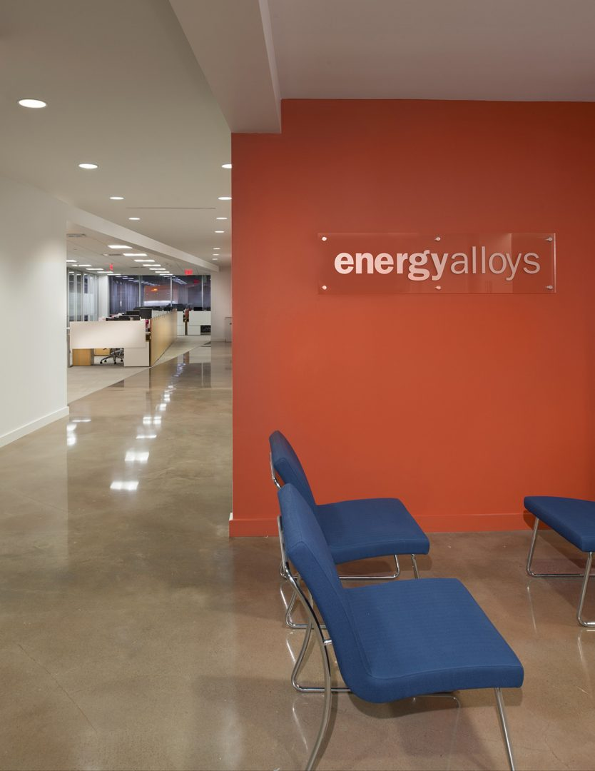 Corporate Interior Design Houston Energy Alloys Informal Meeting Area Honed concrete floors