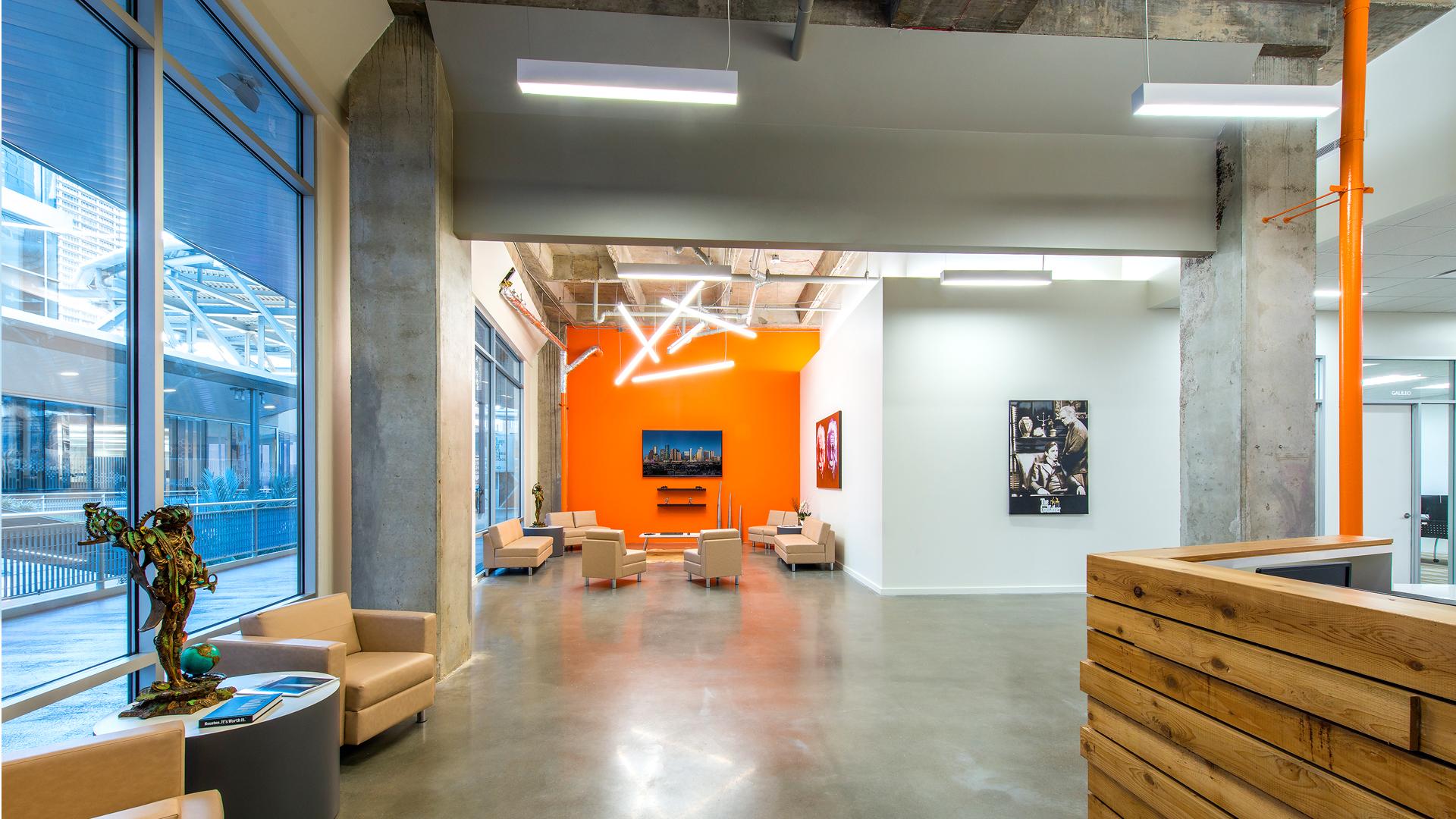 Workplace Interior Design Enertia Houston Entrance Lobby Natural Light