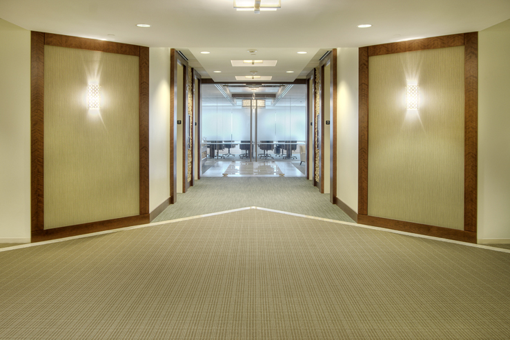 Corporate Interior Design ERG Houston Elevator Lobby Directional Clean Lines Traditional