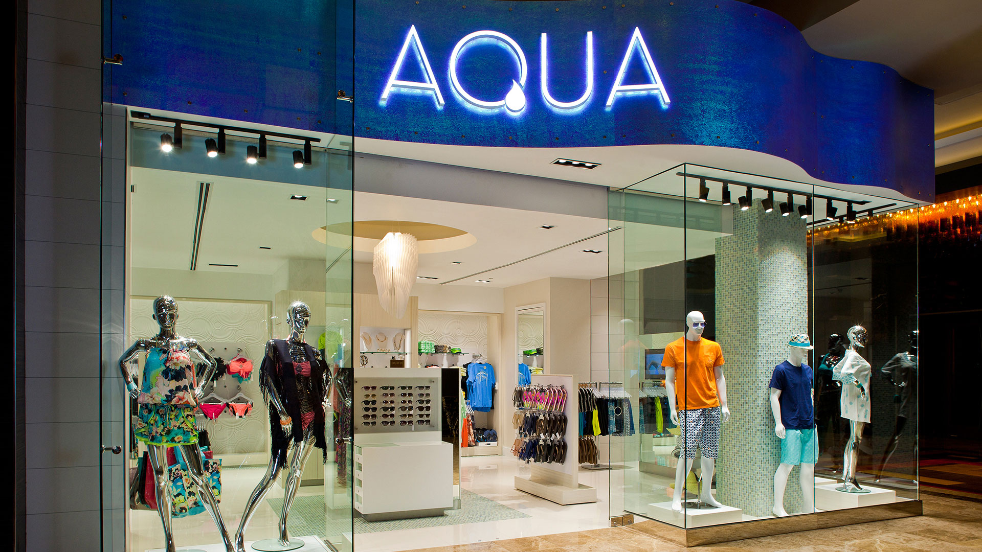 Commercial Retail Design Golden Nugget Lake Charles Landry's Boutique High End Swimwear Apparel Aqua
