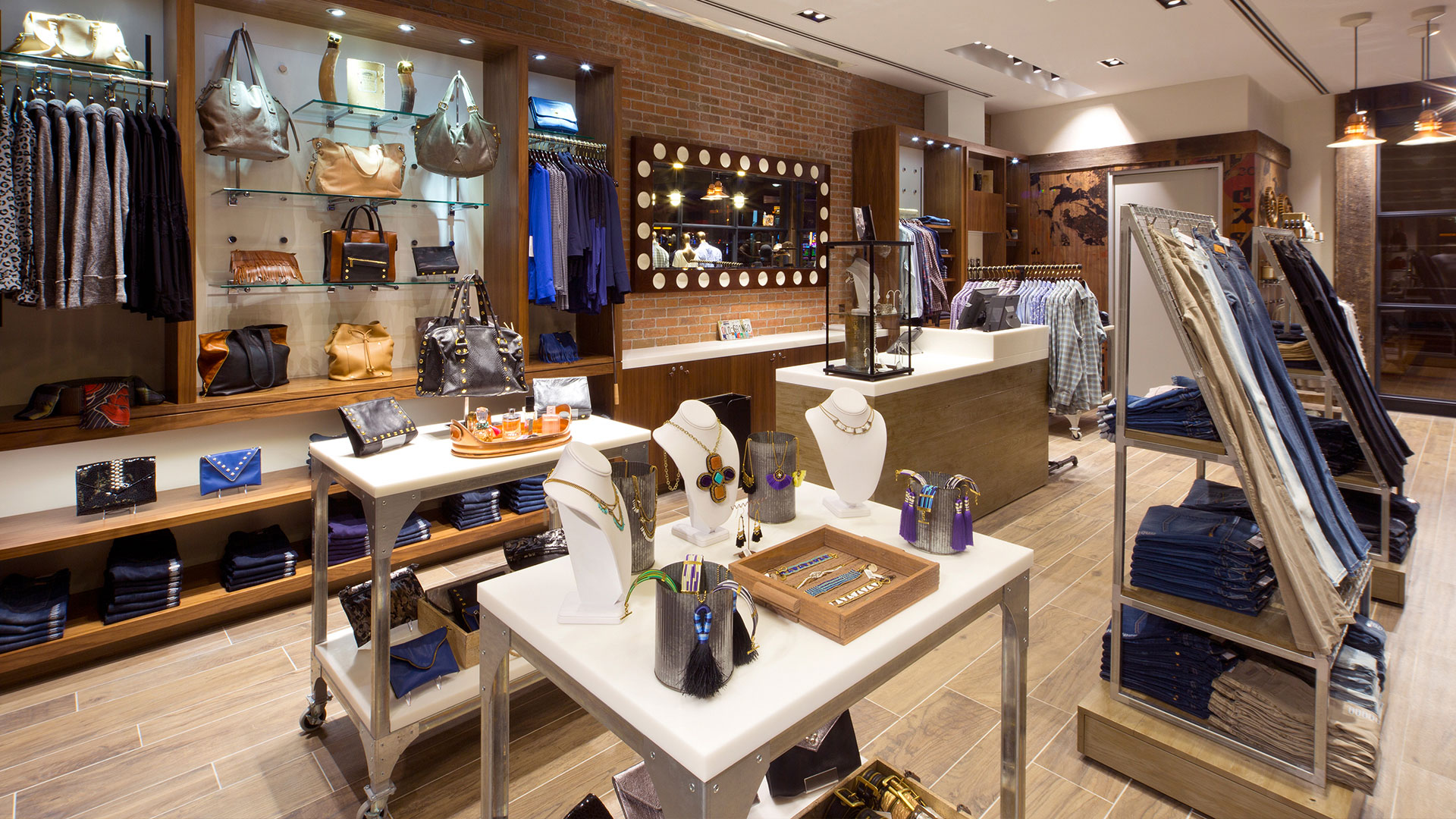 Commercial Retail Design Golden Nugget Lake Charles Landry's Boutique Riveted Floor Display
